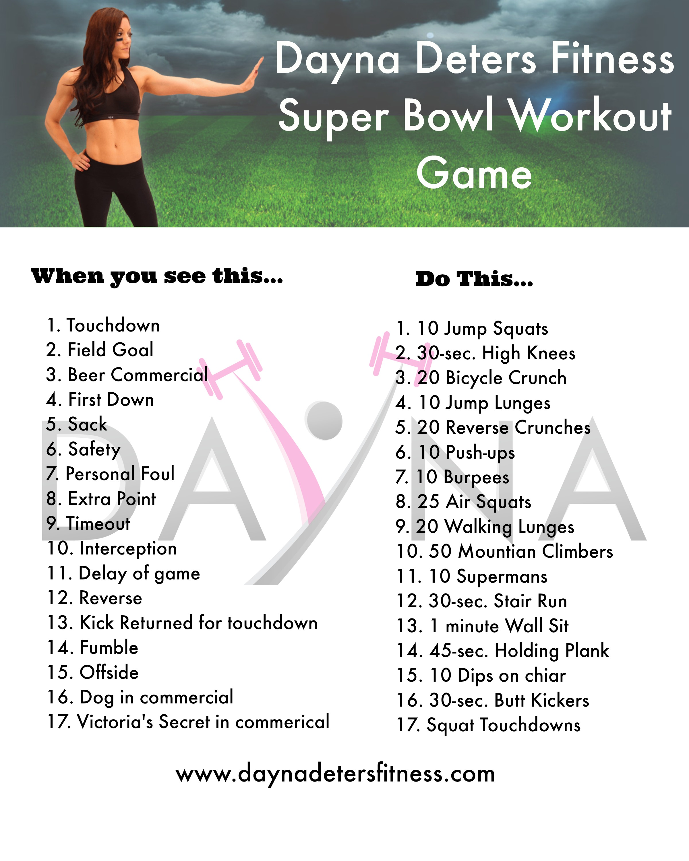 Workout Games: Dayna Deters Fitness Super Bowl Workout Game